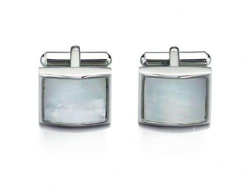 Square Cufflinks Fred Bennett Stainless Steel Mother of Pearl Cufflinks